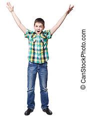 幸せ, 小さい 男の子, 隔離された, 上に, a, 白い背景