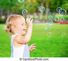 幸せ, 屋外で, 遊び, 子供