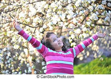 幸せ, 屋外, 子供, 自然