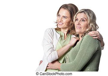 幸せ, 年長の 女性, ∥で∥, 娘, 白, 背景