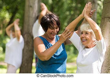幸せ, 年長の 女性, 取り組み