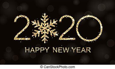 幸せ, 年, 新しい, テキスト, ロゴ, design., 2020