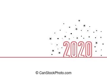幸せ, 年, 新しい, デザイン, 最小である, 2020, スタイル, 背景