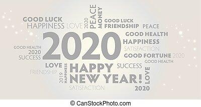 幸せ, 年, 新しい, 2020, 白い背景, 灰色