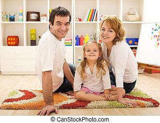 幸せ, 床, 一緒に, 家族, モデル