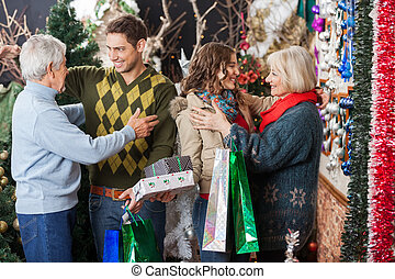 幸せ, 店, クリスマス, 家族, 包含