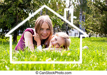 幸せ, 建設, 家族, 家