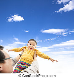 幸せ, 彼の, 父, 遊び, 子供