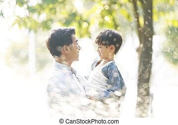 幸せ, 息子, 父, アジア人