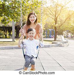 幸せ, 息子, 遊び, 母, 変動