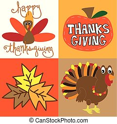 幸せ, 感謝祭トルコ, そして, カボチャ