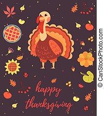 幸せ, 感謝祭, カード, ∥で∥, トルコ, 鳥