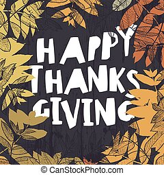 幸せ, 感謝祭, カード, design., 落ちている, 秋, leaves., ∥ために∥, 休日, グリーティングカード, デザイン, そして, 他, projects.