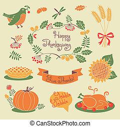 幸せ, 感謝祭, セット, の, 要素, ∥ために∥, design.