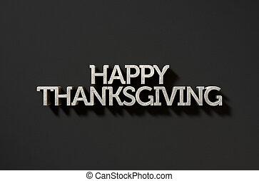 幸せ, 感謝祭, テキスト, 上に, 黒