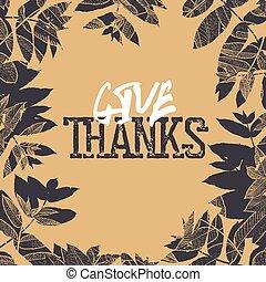 幸せ, 感謝祭, レトロ, カード, design., 落ちている, leaves., ∥ために∥, 型, 休日, グリーティングカード, デザイン
