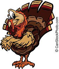 幸せ, 感謝祭, 休日, トルコ, 漫画, ベクトル, イラスト