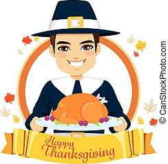 幸せ, 感謝祭, 巡礼者, 人