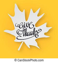 幸せ, 感謝祭, 日, グリーティングカード, ∥で∥, 手, レタリング, 上に, 黄色, バックグラウンド。, 弾力性, ありがとう, 黒, テキスト, 白, かえで 葉, 3d, illustration.