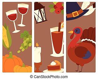 幸せ, 感謝祭, 日, デザイン, 休日, オブジェクト, 生鮮食品, 収穫, 秋, 季節, ベクトル, イラスト