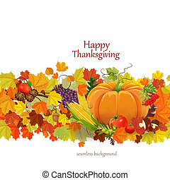 幸せ, 感謝祭, 日, 祝福, フライヤ, seamless, ボーダー