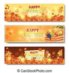 幸せ, 感謝祭, 日, 秋, 伝統的である, 休日, 水平なバナー, セット