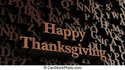 幸せ, 感謝祭, -, 木製である, 3d, レンダリングした, letters/message