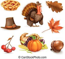 幸せ, 感謝祭, 漫画, 特徴, そして, objects., 3d, ベクトル, アイコン, セット