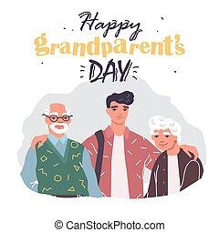 幸せ, 挨拶, 日, 家族, カード, 祖父母