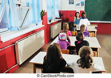 幸せ, 教師, 中に, 学校, 教室