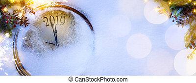 幸せ, 新しい, イブ, クリスマス, 2019, 芸術, background;, 年