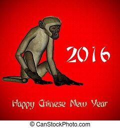 幸せ, 新しい, 中国語, サル, 年, 2016