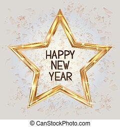 幸せ, 新しい, 形, ベクトル, 星, star., 金, 旗, 光沢がある, illustration., 金, 年