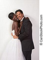 幸せ, 新しい, 水曜日, interracial カップル, 中に, 結婚式, ムード