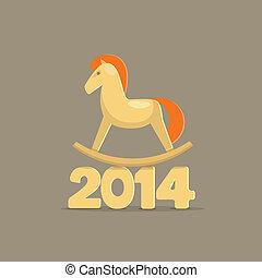 幸せ, 新しい, 2014, year., おもちゃの 馬