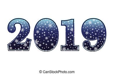幸せ, 新しい, 2019, 年, カード, ベクトル, イラスト
