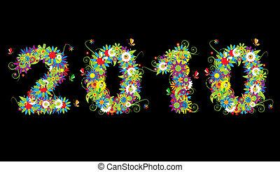 幸せ, 新しい, year., 花, design.