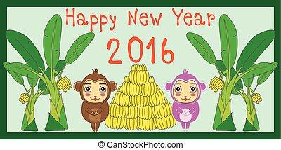 幸せ, 新しい, year;, 2016, カード, 上に, ∥, 赤い背景, 新年, そして, クリスマス, tree;, 2016, 年, symbol;, monkey;, 有色人種, ボール, バナナ