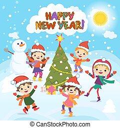 幸せ, 新しい, year., 2017., 冬, fun., 朗らかである, 子供, 遊び, 中に, ∥, snow., 株, ベクトル, イラスト, の, a, グループ, の, 幸せ, 子供, 中に, 赤, サンタの 帽子, そして, 遊び, 近くに