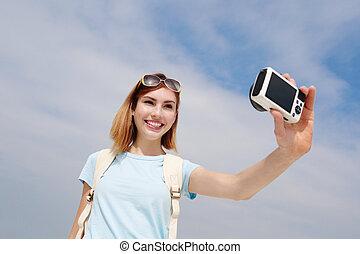 幸せ, 旅行, 女, selfie, 取得