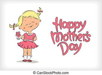 幸せ, 日, カード, 母