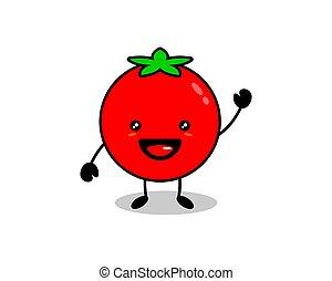 幸せ, 概念, かわいい, 野菜, トマト, 微笑, ベクトル, 漫画, 白い背景, 特徴, アイコン, 平ら, イラスト, 隔離された, トマト