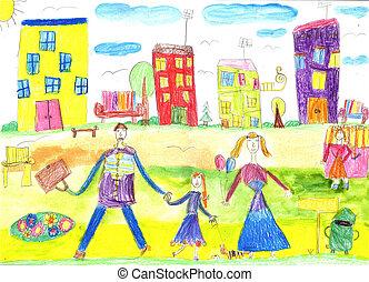 幸せ, 歩きなさい, 図画, 家族, 子供