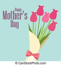 幸せ, 母の日, カード, 花束, ばら