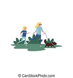 幸せ, 母, そして, 彼女, わずかしか, 娘, 動くこと, ∥で∥, 犬, 中に, park., 活動的, lifestyle., 家族, day., 平ら, ベクトル, デザイン