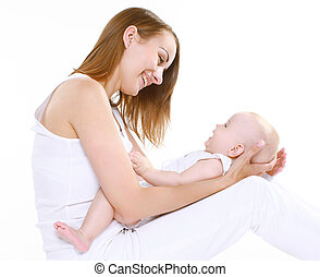 幸せ, 母, ∥で∥, かわいい, 赤ん坊, 楽しい時を 過すこと