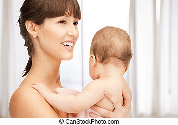 幸せ, 母, ∥で∥, 愛らしい, 赤ん坊