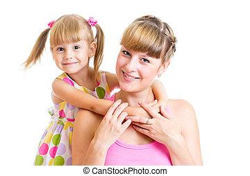 幸せ, 母 と 子供, 女の子, 隔離された, 白, 背景