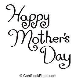 幸せ, 母, タイプ, 日, 手書き