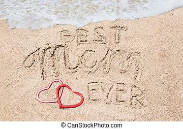 幸せ, 母, 手書き, 背景, 今までに, 日, お母さん, 最も良く, レタリング, 浜